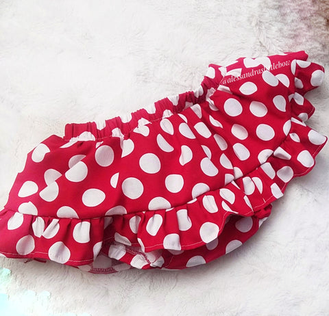 Red Polka dots  ruffle skirted bloomers - AlessandrasLittleBow