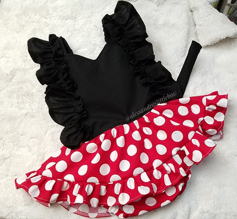 Red Polka dots Pinafore - AlessandrasLittleBow