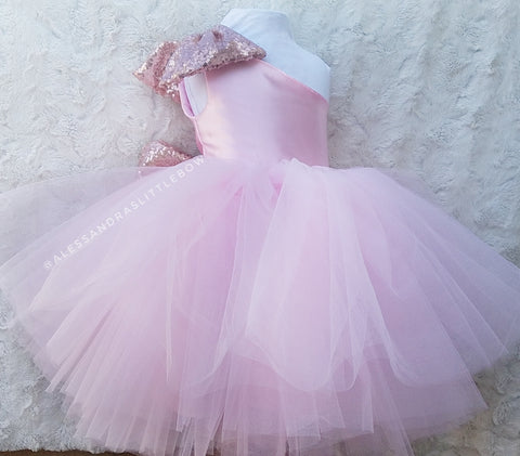 Brielle Couture Dress in Rose Gold and Pink - AlessandrasLittleBow