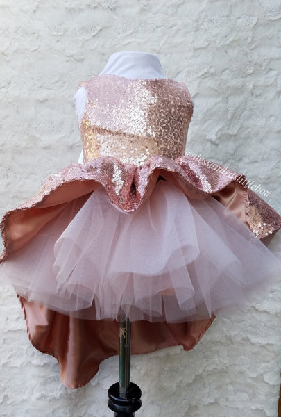 Princess Megan High Low Couture Dress in Rose Gold - AlessandrasLittleBow