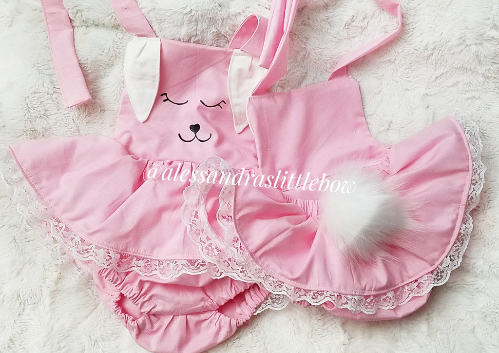 Skirted Bunny Romper with tail - AlessandrasLittleBow