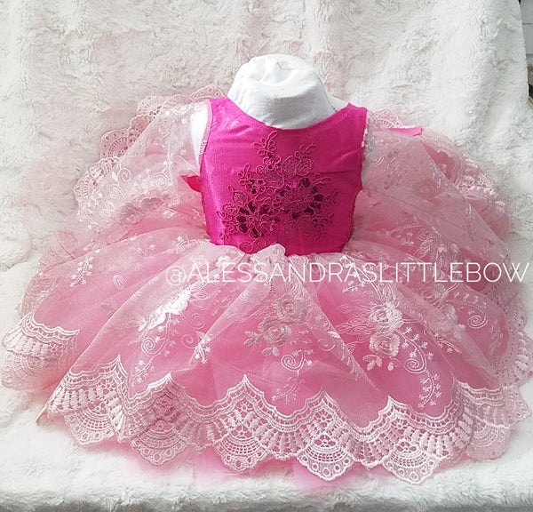 Princess Amber Couture Dress in Sleeping Beauty Colors - AlessandrasLittleBow