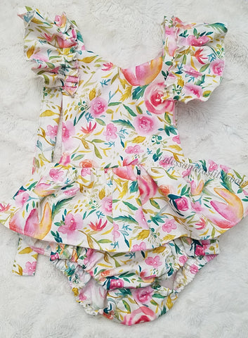 Coral and Cream watercolor Florals Romper - AlessandrasLittleBow
