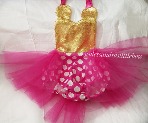 Hot pink ans gold Minnie Mouse sequin Romper - AlessandrasLittleBow