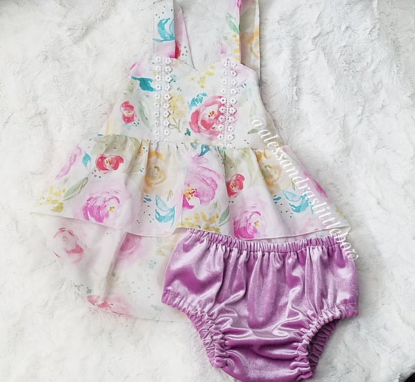 Watercolor floral high low Swing Set - AlessandrasLittleBow