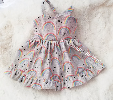 Grey Pastel Rainbows SWEETHEART PINAFORE - AlessandrasLittleBow