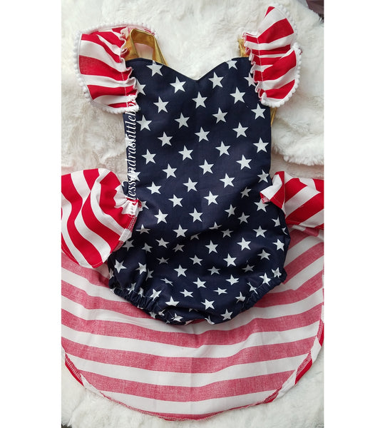 Little Miss America high low romper