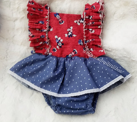 Minnie and Mickey Mouse Patriotic Pinafore