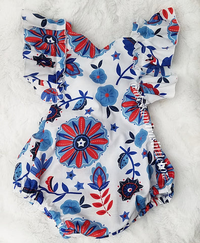 Red, White and Blue Floral Flutter Romper