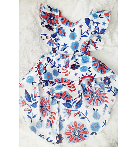 Red, White and Blue Floral High Low Romper