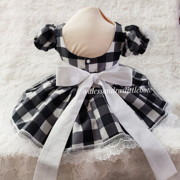 Black and White Buffalo Plaid Pinafore dress