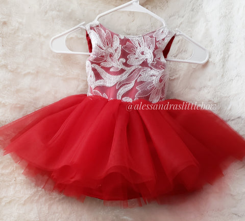 Ready to Ship White and Red Lace Couture dress 18/24mo