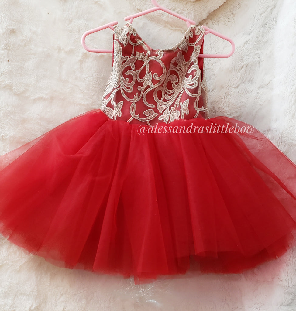 Ready to Ship Champagne and Red Lace Couture dress 12/18mo , 2t