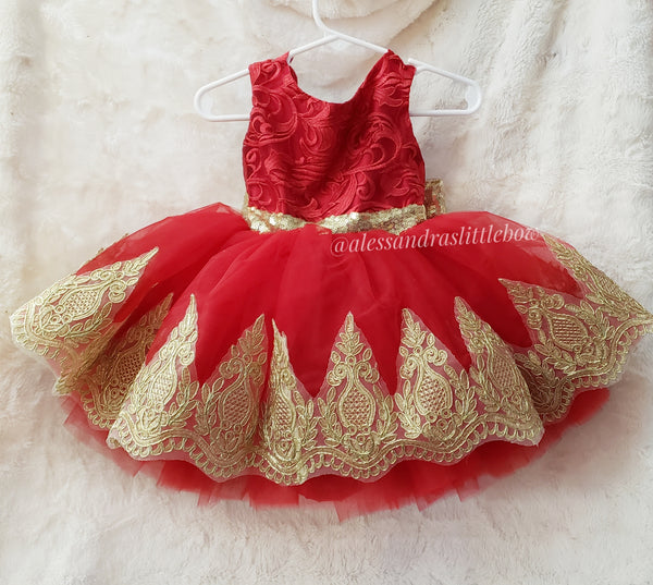 Princess Ella Couture dress in red and light gold