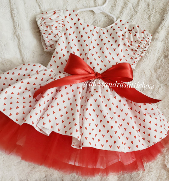Red Valentine's hearts vintage Couture Dress