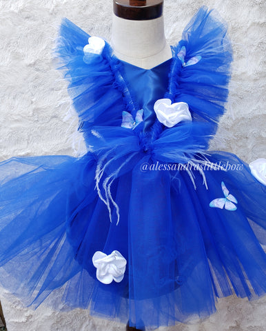 Royal Blue Butterfly Whimsical Romper