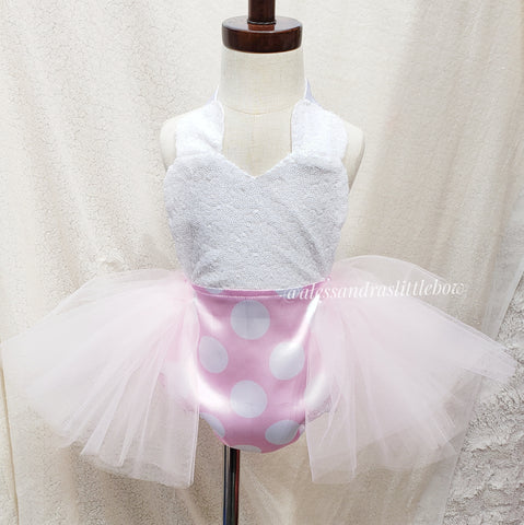 Light pink Minnie Mouse sequin tutu Romper