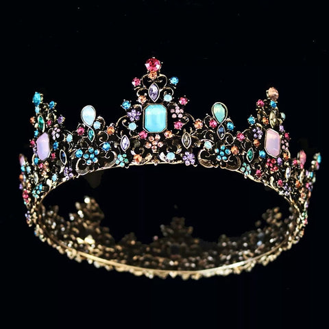 Luxury pastel crystal Black full crown - pre order
