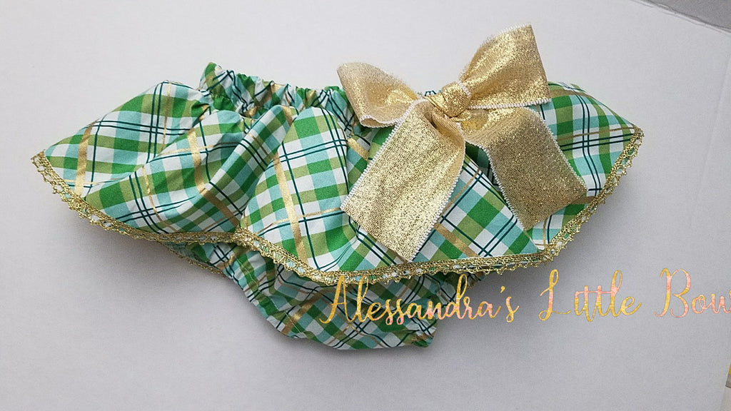 Green and gold plaid Skirted Bloomers - AlessandrasLittleBow