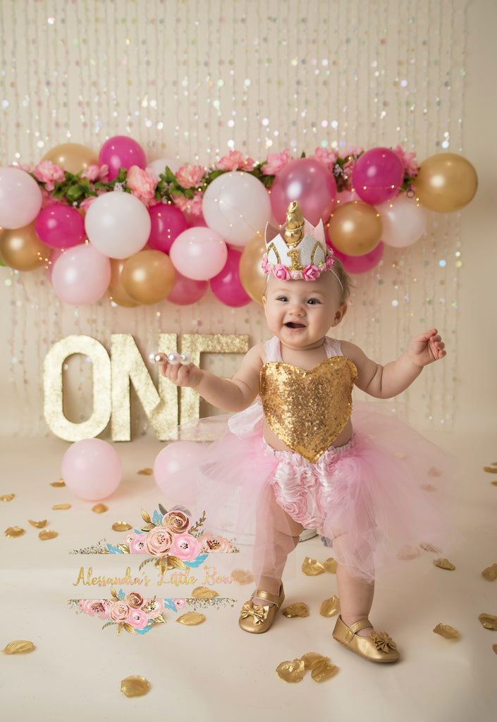 Pink and gold Heart tutu Romper - AlessandrasLittleBow