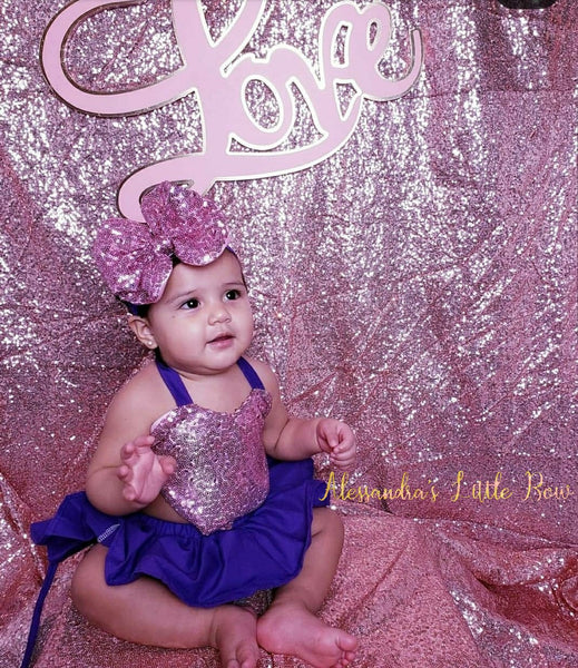Valentine' Romper in Purple and pink - AlessandrasLittleBow