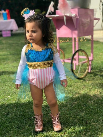 Pink Circus Ring Master Romper - AlessandrasLittleBow