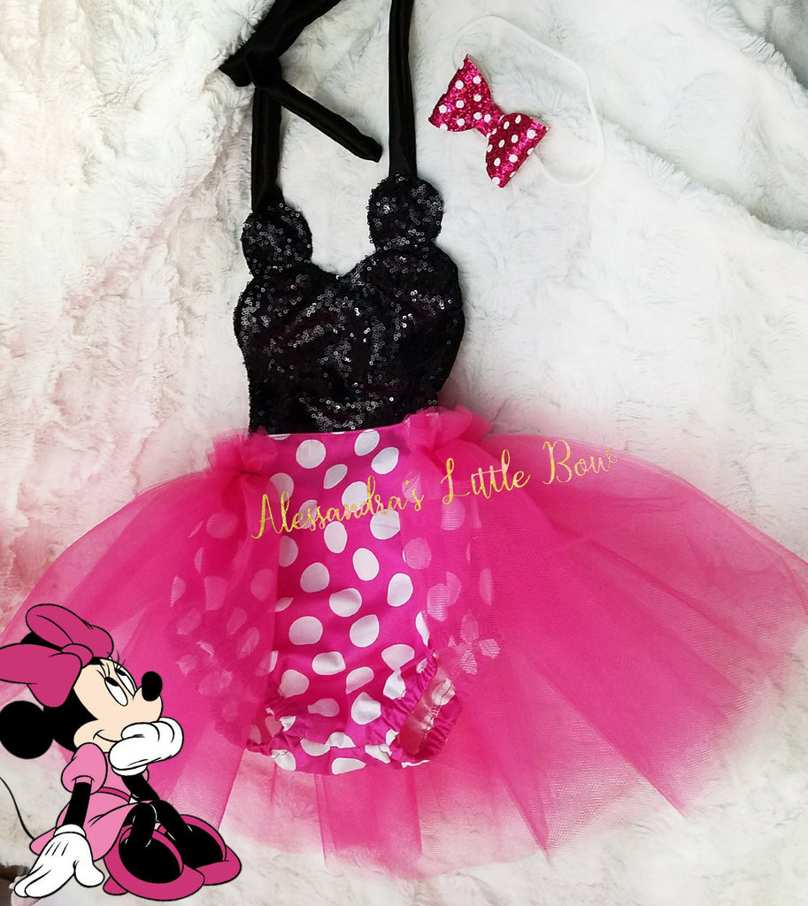 Hot pink Minnie Mouse sequin Romper - AlessandrasLittleBow