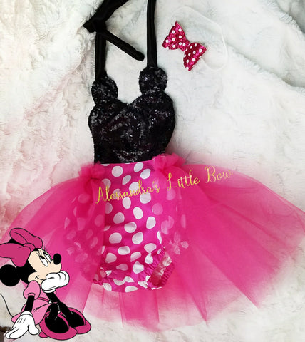 Hot pink Minnie Mouse sequin Romper Romper - AlessandrasLittleBow