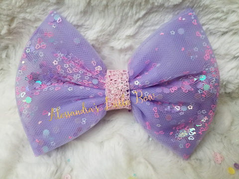 Lavender Dreams Confetti Bow - AlessandrasLittleBow