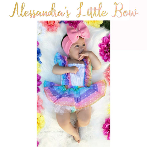 Rainbow Dots Skirted Bloomers With Ruffle Suspenders - AlessandrasLittleBow