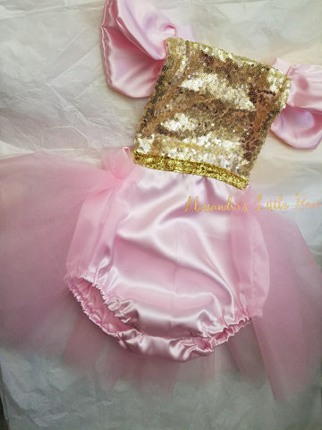 Pink and gold sequin Romper - AlessandrasLittleBow