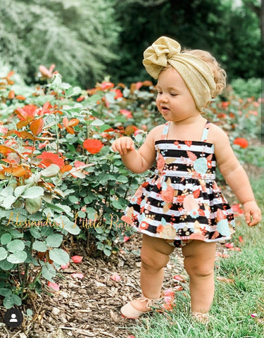 Floral Stripes Swing Set - AlessandrasLittleBow