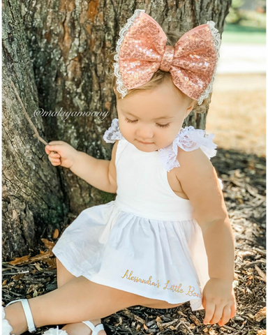 White ruffle swing set - AlessandrasLittleBow