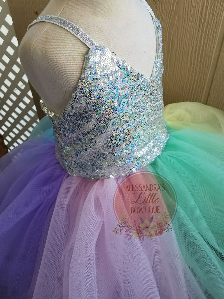 Unicorn Sparkle couture dress - AlessandrasLittleBow