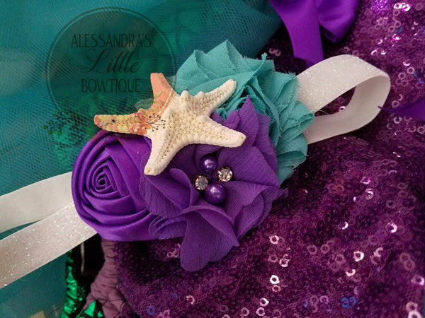 Mermaid Purple  starfish headband - AlessandrasLittleBow