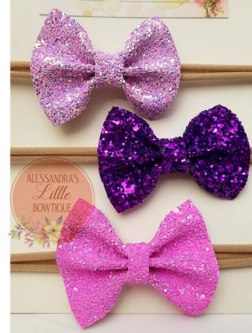 Fairly Purple glitter bow set - AlessandrasLittleBow
