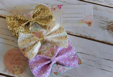 Unicorn glitter bow set