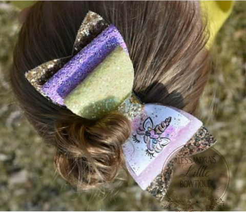 Unicorn Camouflage double glitter bow
