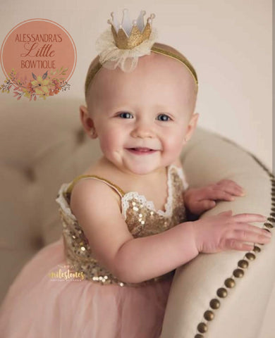 gold glitter mini birthday crown - AlessandrasLittleBow