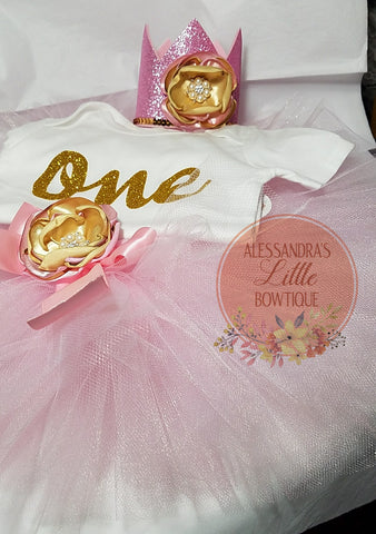 Pink and gold birthday outfit - AlessandrasLittleBow