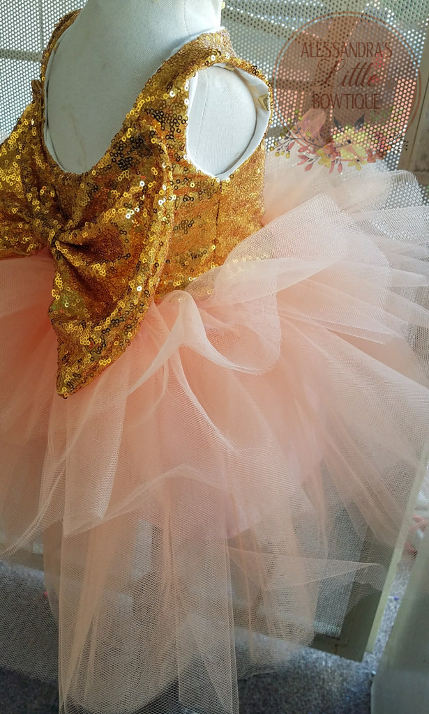 Allyson dress in Peach and gold sequin - AlessandrasLittleBow