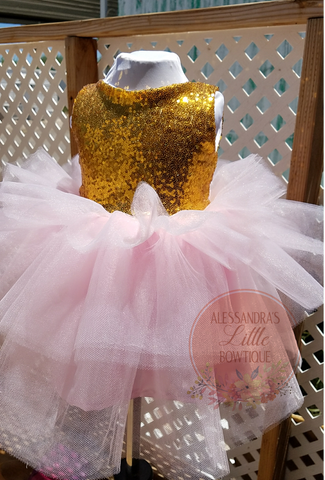 3 tier Glam Dress in Pink and Gold - AlessandrasLittleBow