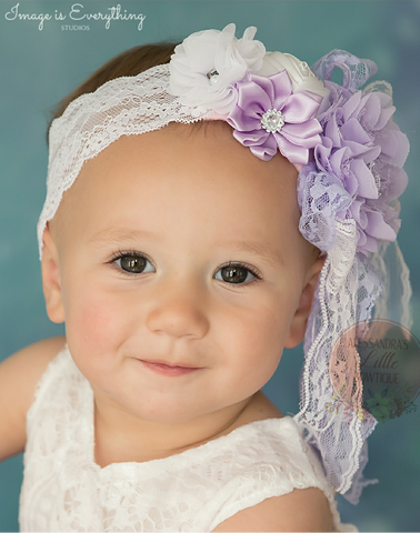 Lavender and white lace headband - AlessandrasLittleBow