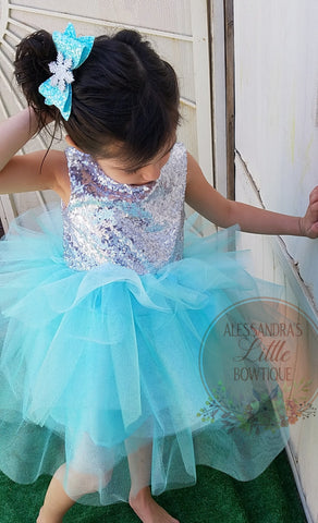 3 tier Glam dress in Shimmery Aqua and silver