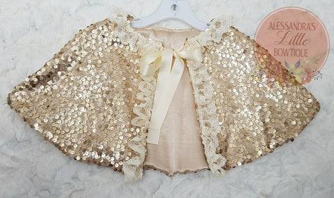 Sequin Confetti Cape in light Gold - AlessandrasLittleBow