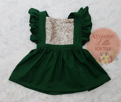 Green sparkle suspender dress - AlessandrasLittleBow