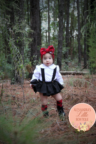 Black Skirted Bloomers with Suspenders - AlessandrasLittleBow