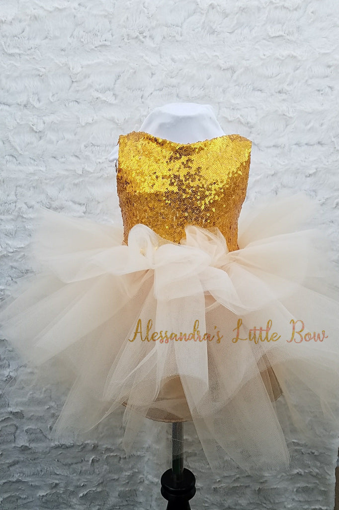 3 tier Glam dress in Gold and Beige - AlessandrasLittleBow