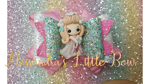 "Aurora Christmas Princess Clay Bow 4"" - AlessandrasLittleBow"