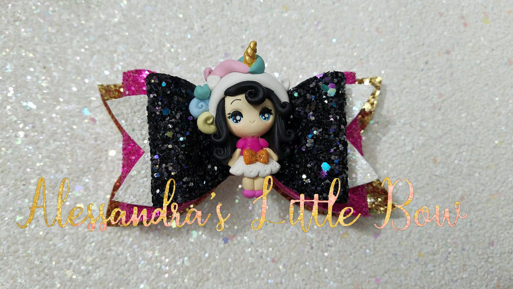 "Black Hair Unicorn Girl Clay Bow 4"" - AlessandrasLittleBow"